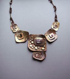 Copper bib necklace, statement necklace, handmade copper necklace, metalwork, coppery, copper jewelry via Etsy