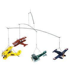 Bring a touch of classic charm to your living room or add vintaged appeal to your library with this airplane mobile, showcasing early 20th century designs. ...