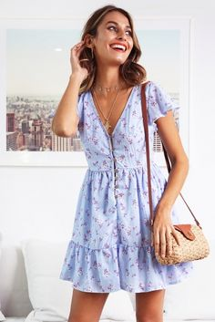 Blissful Days Dress Blue Print Stelly Source by outfit summer Nye Outfits, Spring Outfits, Dress Outfits, Fashion Outfits, Sundress Outfit, Wrap Dress Outfit, Prom Dress Shopping, Online Dress Shopping, Fashion Week
