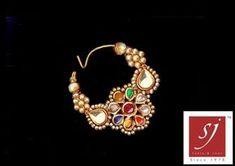 Satyanarayan J Jadia & Sons Jewellers Pvt Ltd Indian Wedding Jewelry, Indian Jewelry, Bridal Jewelry, Nose Jewelry, Gold Rings Jewelry, Nose Ring Designs, Rajputi Jewellery, Indian Nose Ring, How To Make Necklaces