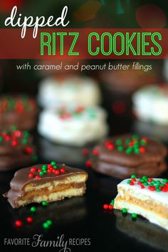 These Caramel and Peanut Butter Filled Dipped Ritz Cookies are an easy, yummy holiday treat!  from favfamilyrecipes.com