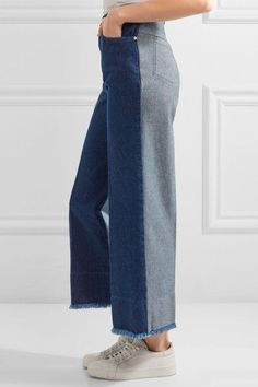 Cédric Charlier - Two-tone High-rise Wide-leg Jeans - Dark denim - IT44