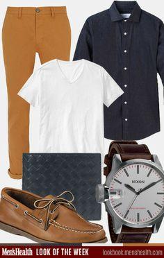 Consider a casual style like this for the weekend. Pants: TopManShirt: Jack SpadeWallet: Bottega VenetaT-shirt: GapShoes: Sperry TopsiderWat...