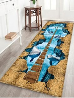 For Crystal Blue W16 Inch L47 Uhommi Marine Dolphins Printed Antiskid Area Mat