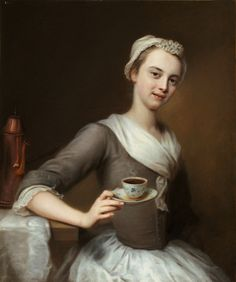 """Lady Offering Coffee""- by German artist Balthasar Denner (1685 - 1749)"