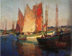 """Edgar Payne - """"Fishing Boats, Concarneau c. Oil on canvas 33 x 43 inches Beautiful Landscape Paintings, Seascape Paintings, Landscape Art, Watercolor Paintings, Watercolors, Edgar Payne, Western Landscape, Dundee, Painting Techniques"""