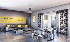 deco chambre new york jaune