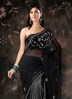 Black faux georgette ready pleated saree with blouse