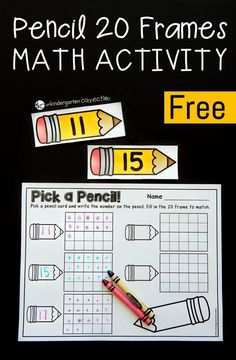 This pencil themed 20 frame math activity makes a great math center for Kindergarteners to practice teen number recognition and counting!