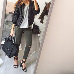 Look du jour ☺️ Kaki x Black x Gris  Tenue total www.outfitbook.fr Shoes nouvelle collection dispo sur le site -lien en bio- #Padgram