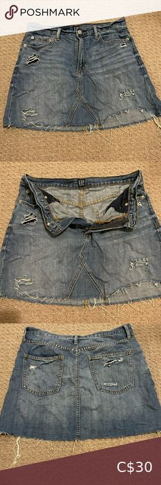 Gap distressed high waist denim skirt Distressed and ripped by design. Super cute with a white crop too or tie a tshirt off in the front with sneakers for the perfect summer outfit GAP Skirts Mini High Waisted Denim Skirt, Summer Outfits, Super Cute, Buy And Sell, Tie, Best Deals, Sneakers, Closet, Armoire