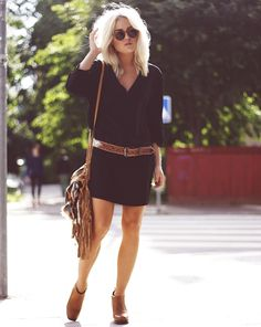Cutest casual black dress with a buckle.  Edgy. Casual. Cute.
