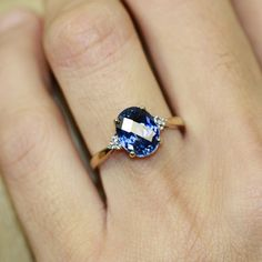 Oval Sapphire Solitaire Engagement Ring in 10k Yellow Gold Sapphire Wedding Ring September Birthstone Ring, Size 7 (Resizable)