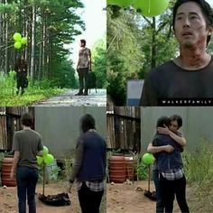 The Green Balloons, Glenn Rhee and Maggie Greene Rhee   The Walking Dead S7E05 'Go Getters'