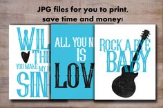 Instant download rocker baby nursery set! So adorable!  Printable nursery print set, instant download, rock and roll baby, wall art, kids room poster, boys bedroom sign, typography quote sign - pinned by pin4etsy.com
