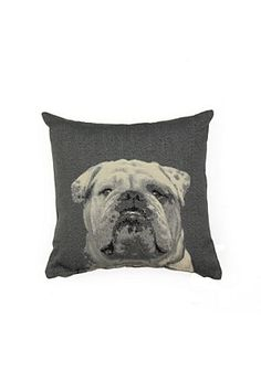 TAPESTRY BULLDOG CUSHION! WOOF!