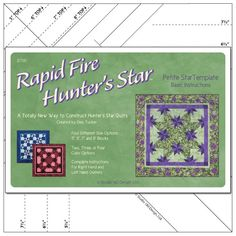 Ruler - Rapid Fire Hunter's Star Petite Star Template by Studio 180 Designs - 0677 Quilting Rulers, Quilting Tools, Quilting Ideas, Star Quilt Patterns, Star Quilts, Quilt Blocks, Scrappy Quilts, Hunters Star Quilt, Manualidades