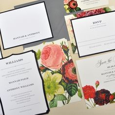 LOVE these floral invitations!  (Just need a pop of gold to make them complete!)