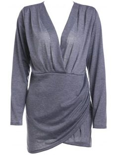 Backless Plunging Neck Long Sleeve Solid Color Dress - Gray Xl