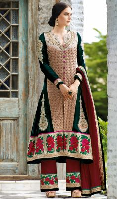 Stylish Net and Velvet Long Salwar Kameez Become the woman about town dressed in this stylish net and velvet long salwar kameez. This attire is en crafted with bead, floral patch, gold zardosi, moti, patch, resham and stones work. #LongSalwarKameezForWedding #OnlineSalwarKameezShopping