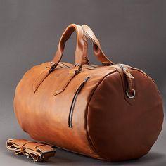 Tan Leather Duffle Bag  Men 25L, Shoulder Travel Weekender, Gym Sports Carry On, Handmade Overnight