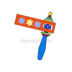 Purim noisemaker. Colorful wooden noisemaker isolated on white background. Purim noisemaker toys. Vector Purim Jewish traditional symbols. — Stock Vector © sofiartmedia.gmail.com #131082178