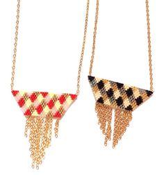Collier tissé à la main en perles et chaînes dorées