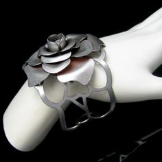 Mid Century Large Rose Extra Wide Vintage Cuff Bracelet Silver Plated Open Sides Small Wrist #MyClassicJewelry