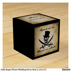 Jolly Roger Pirate Wedding Favor Box Pirate Party Invitations, Pieces Of Eight, Pirate Wedding, Pirate Birthday, Wedding Favor Boxes, Jolly Roger, Party Hats, Groomsmen, Pirates