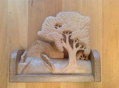 3D houtsnijwerkje, Panorama landschap met huis, boom en oprijlaan.