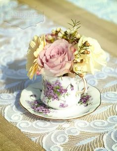 Vintage Wedding Fair. Oh I could so see this idea using Grandma's rose tea cups!!