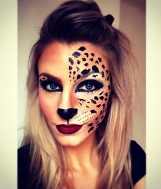 We hope these nine makeup-only cat Halloween costumes give you some inspiration Maquillage Halloween Clown, Halloween Face Makeup, Leopard Halloween Makeup, Cheetah Halloween Costume, Up Costumes, Halloween Costumes, Cat Makeup, Cheetah Makeup, Animal Makeup