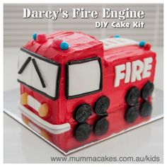 Fire Engine DIY Cake Kit! Fun and easy to make. We will supply you with a cake kit that includes everything you need to create this cake (except eggs and water). Order online www.mummacakes.com.au/kids Australia-Wide delivery!
