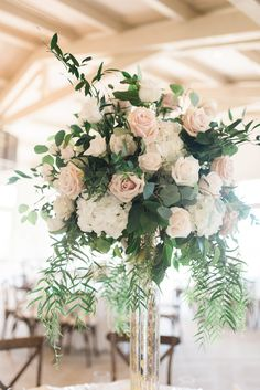 Wedding Decorations - South Bay Wedding at the New Rolling Hills Country Club Church Wedding Decorations, Wedding Table Centerpieces, Wedding Flower Arrangements, Wedding Bouquets, Floral Arrangements, Flower Decorations, Centerpiece Ideas, Tall Centerpiece, Centrepieces