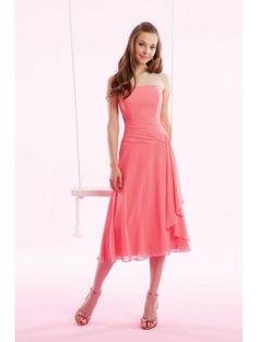 A-Line Strapless Dropped Waist Pleated Tea Length Chiffon Pink Evening Dresses