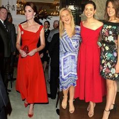 <b>Kate's twinning Hollywood look</b>Ladies in red. The British royal and Emmy Rossum wore the same red Preen dress in a span of a couple of days. Kate donned the dress with the asymmetrical neckline to a reception held at Victoria's Government House during her 2016 royal tour of Canada. Meanwhile the <i>Shameless</i> actress wore the tea-length frock to her bridal shower luncheon at the Hotel Bel Air.  Photo: Pool/Sam Hussein/WireImage/Instagram