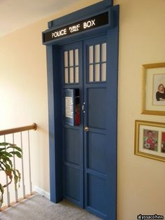 Bedroom door complete with sound effects. Need a Doctor Who nursery! Our poor babies will be born into fandoms! ;)