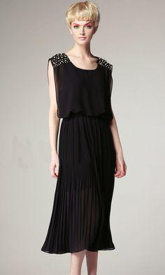 #SheInside Black Sleeveless Bead Shoulder Pleated Chiffon Dress