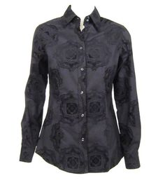 ETRO BLACK FLOCKED FLORAL PRINT BUTTON DOWN SHIRT SZ.44 #Etro #ButtonDownShirt