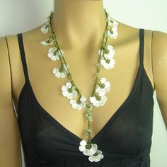 NEW Spring 2013 White Crocheted necklace oya flower with semi-precious stones