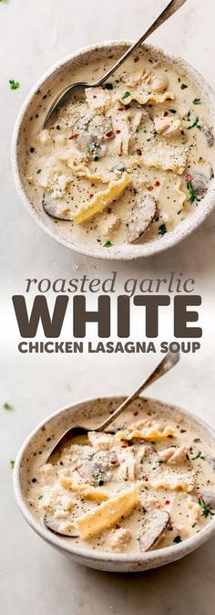 Garlic White Chicken Lasagna Soup Roasted Garlic White Chicken Lasagna Soup - The coziest, creamiest, most comforting soup! This roasted garlic white chicken lasagna soup is sure to be a hit with the whole family! And it's quite quick to put together too! Garlic Soup, Roasted Garlic, Garlic Jar, Roasted Chicken, Garlic Paste, Crockpot Recipes, Cooking Recipes, Healthy Recipes, Keto Recipes