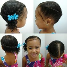 Mixed girls hairstyles. Flat twist into a side pony tail
