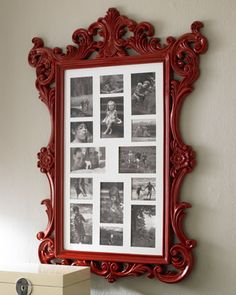 Eye-catcher: Cool baroque-style frame filled with black and white photos.