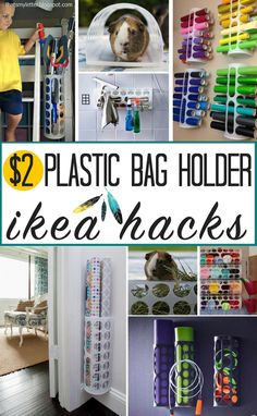 WOW! So many practical uses for a plastic bag holder! This Ikea Variera bag dispenser costs $2 but is popular for so many more uses! Great Ikea hacks from around the web and heatherednest.com