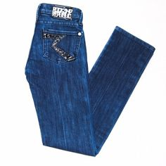 Authentic Rock & Republic Skinny Jeans Rare skinny/straight leg rock and republic jeans. Special edition Cosbie style with patent leather like R on back pockets . 100% authentic size 24.  Like new. Factory distressing. Rock & Republic Jeans Skinny