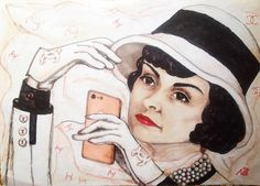 """#inspiredbypromarker #winsornewtonchallenge My #artwork #inspired by #cocochanel and titled """"Gabrielle Chanel's first #selfie"""" ☺️#chanel #coco #iphone7 #rosegold #pearl #hat #gloves #illustration #fashionillustration #artist #art #artwork #markers #worldofartists #drawing #drawingoftheday #illustration"""