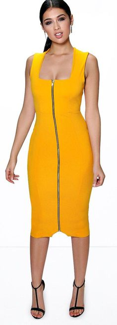 Sia Square Neck Zip Front Midi Bodycon Dress - Dresses  - Street Style, Fashion Looks And Outfit Ideas For Spring And Summer 2017