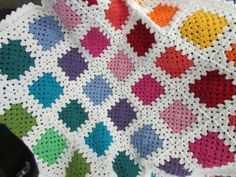 My new online Etsy Store - MDMStitches - First item for sale - Colourful Granny Square Baby Blanket