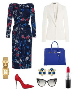 A fashion look from October 2016 featuring floral dresses, fitted jacket and pointed toe pumps. Jw Meetings, Fashion Sets, Fashion Outfits, Dress Outfits, Dress Up, Church Outfits, Tom Ford, Salvatore Ferragamo, Street Styles
