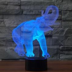 Animals Elephant Illusion Lamp Led Night Light with 7 Colors Flashing and Touch Switch USB Powered Bedroom Desk Lamp for Kids Gifts Home Decoration >>> For more information, visit image link-affiliate link. Online Shopping Usa, Led Night Light, Light Led, Art And Technology, House Rooms, Kids Gifts, Led Lamp, Illusions, Dinosaur Stuffed Animal